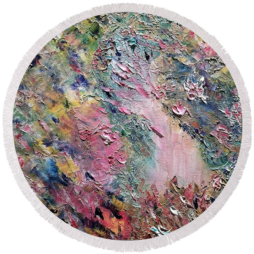 Abstract Round Beach Towel featuring the painting Garden Path by Donna Painter