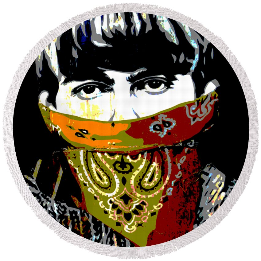 Banksy Round Beach Towel featuring the photograph George Harrison wearing a face mask by RicardMN Photography