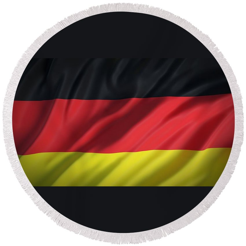 Flag Round Beach Towel featuring the photograph German Flag by FL collection