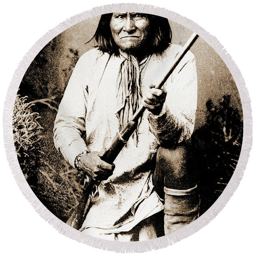 Native Round Beach Towel featuring the photograph Geronimo by Gary Wonning