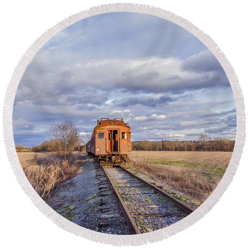 Catskill Railroad Round Beach Towel featuring the photograph Ghost Train by Rachel Snydstrup