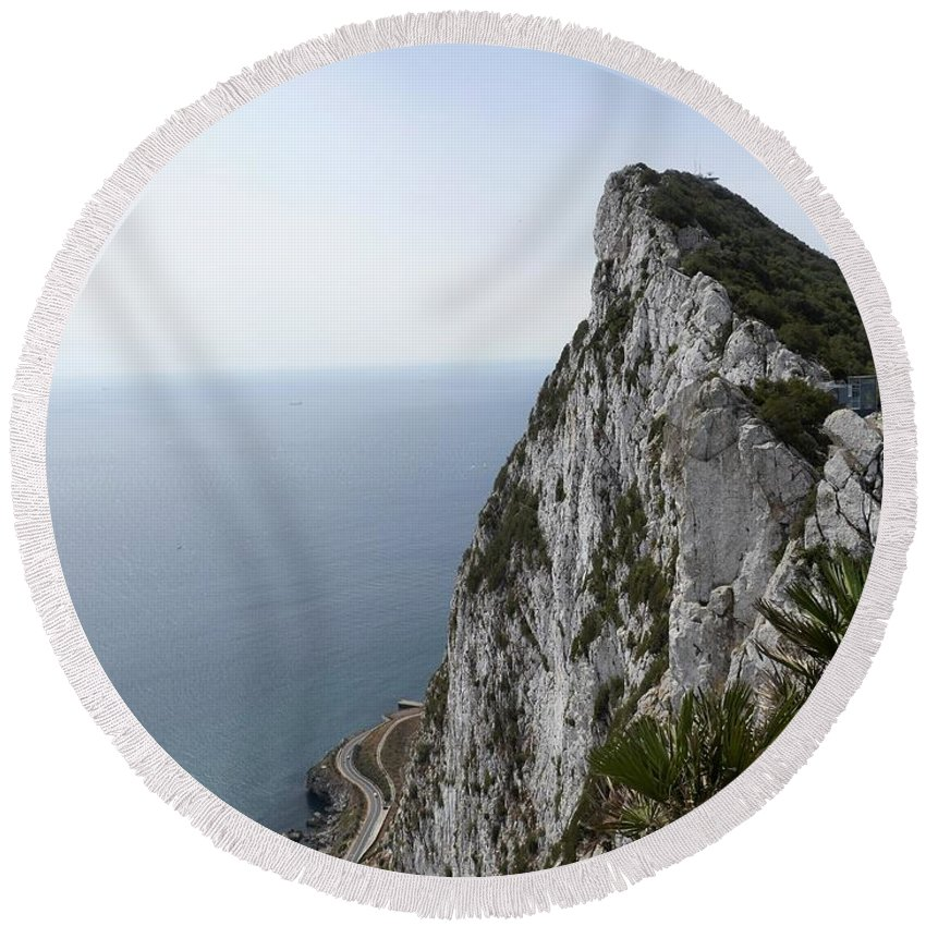 Gibraltar Rock By Tamara Sushko Round Beach Towel featuring the photograph Gibraltar Rock by Tamara Sushko