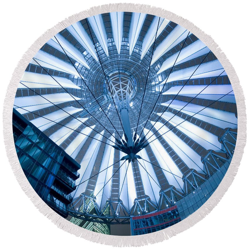 Architecture Round Beach Towel featuring the photograph Glass Sky by Pierre Logwin