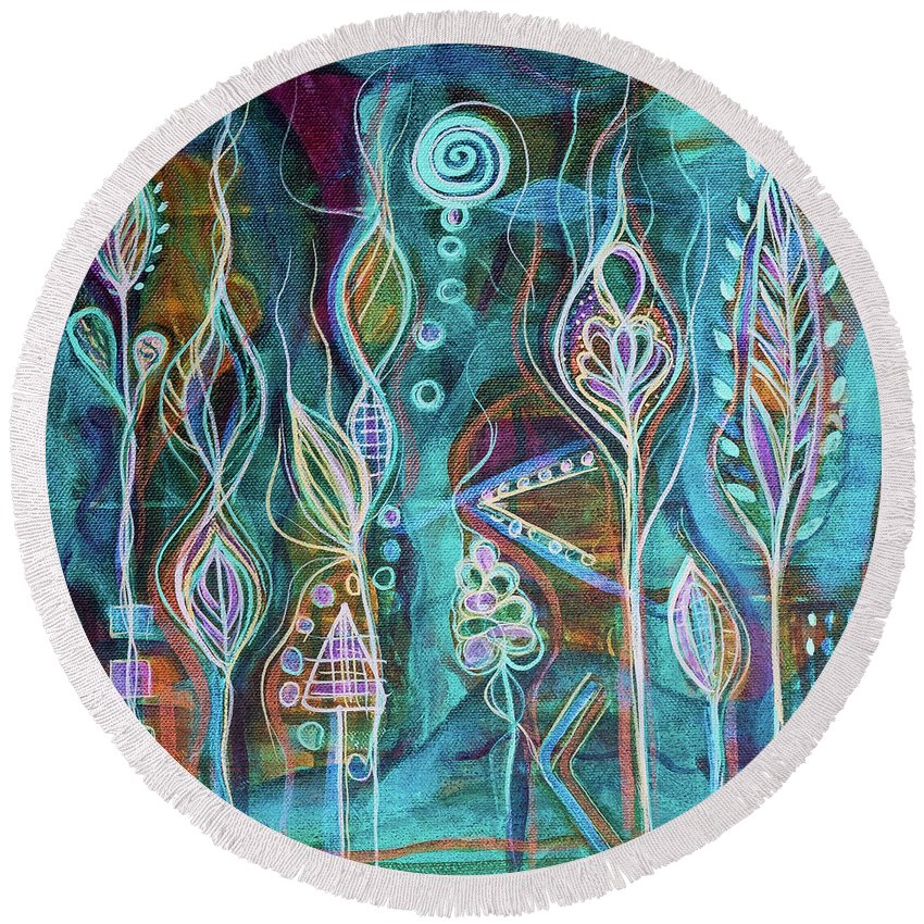Intuitive Art Round Beach Towel featuring the painting Glow by Angel Fritz