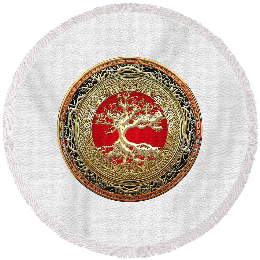 Treasure Trove By By Serge Averbukh Round Beach Towel featuring the photograph Gold Celtic Tree Of Life On White Leather by Serge Averbukh