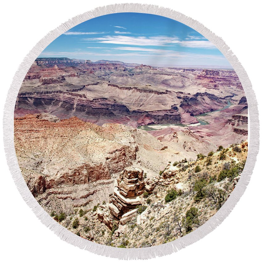 Grand Canyon National Park Round Beach Towel featuring the photograph Grand Canyon View From The South Rim, Arizona by A Gurmankin