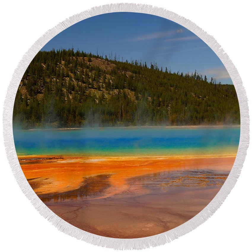Colorful Round Beach Towel featuring the photograph Grand Prismatic Pool IIi by Beth Collins