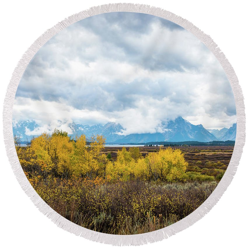 National Parks Round Beach Towel featuring the photograph Grand Tetons by Aileen Savage