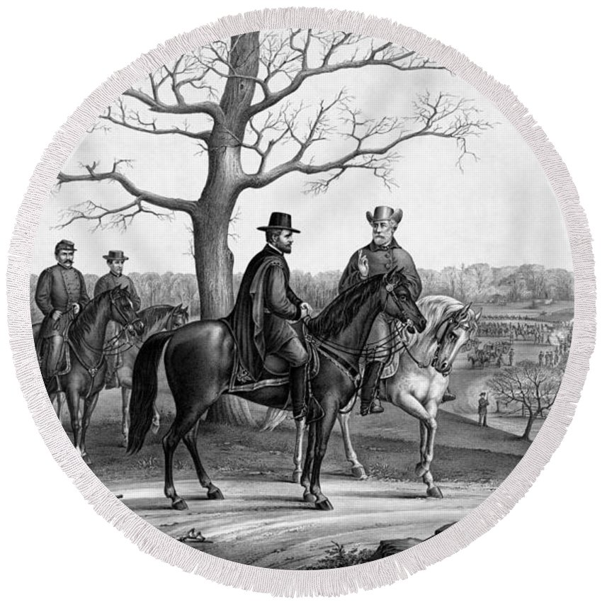 General Grant Round Beach Towel featuring the drawing Grant And Lee At Appomattox by War Is Hell Store