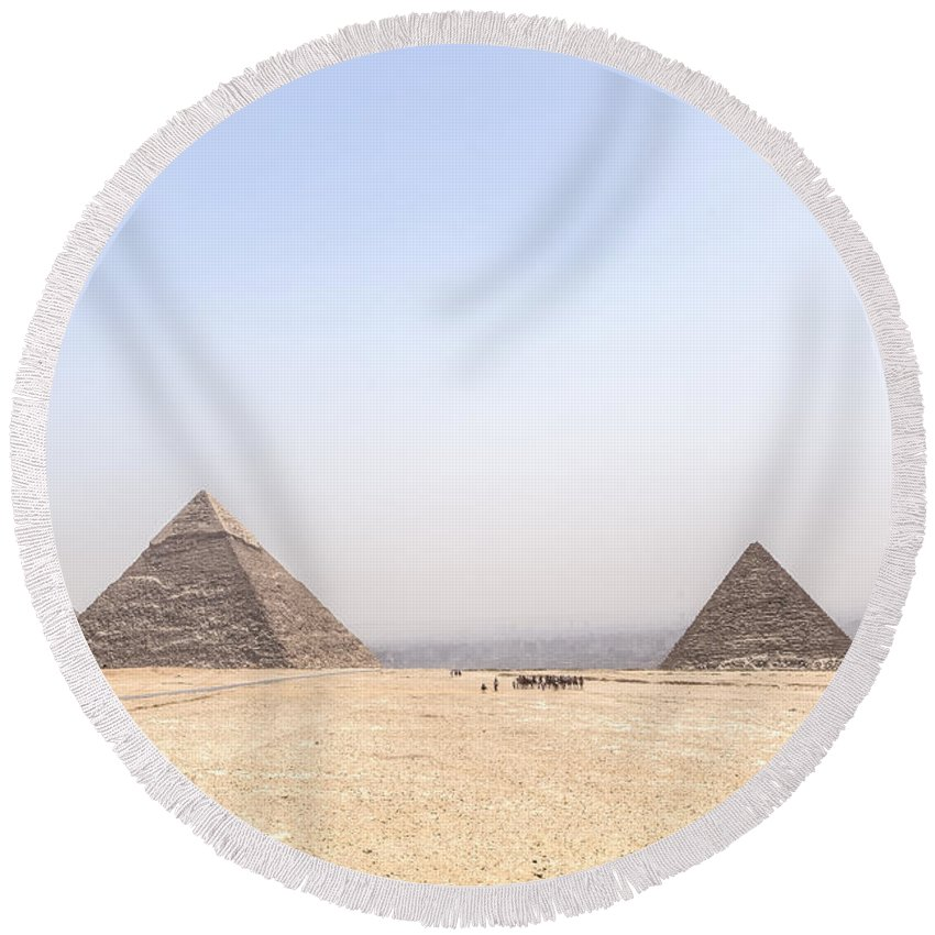 Great Pyramids Of Giza Round Beach Towel featuring the photograph Great Pyramids Of Giza - Egypt by Joana Kruse