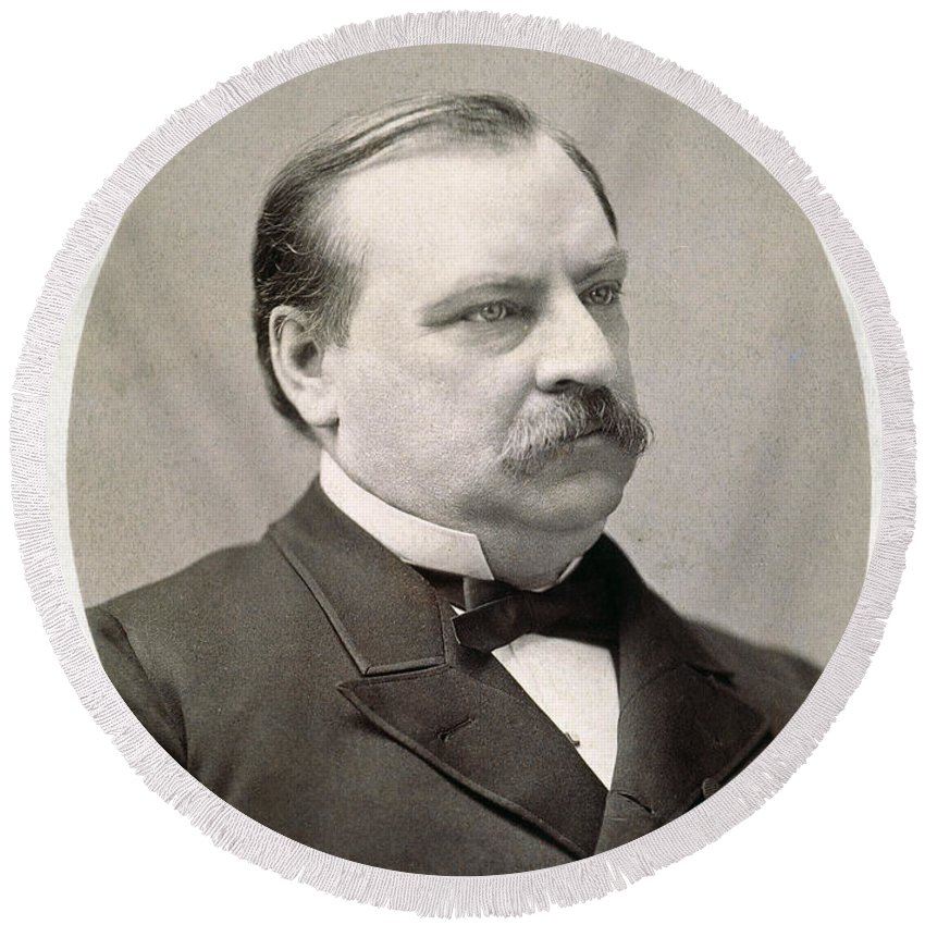 19th Century Round Beach Towel featuring the photograph Grover Cleveland (1837-1908) by Granger