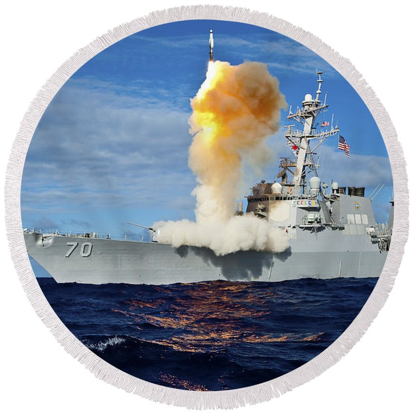 Missile Round Beach Towel featuring the photograph Guided Missile Destroyer Uss Hopper by Stocktrek Images