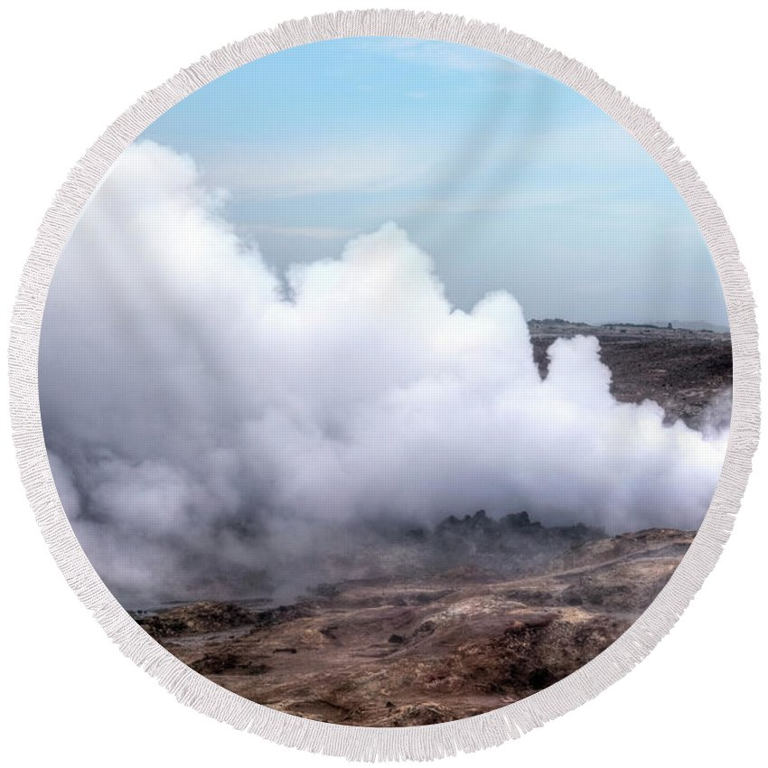 Geothermal Area Round Beach Towel featuring the photograph Gunnuhver - Iceland by Joana Kruse