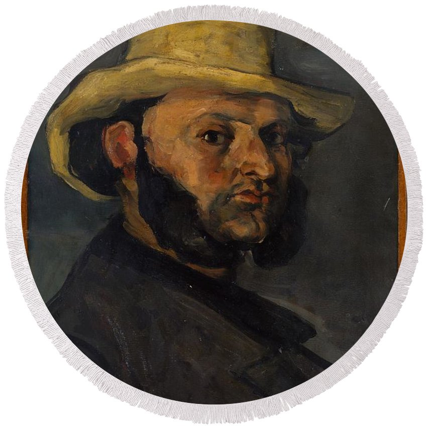 Paul Czanne Gustave Boyer B 1840 In A Straw Hat Round Beach Towel featuring the painting Gustave Boyer B 1840 In A Straw Hat by Paul Czanne