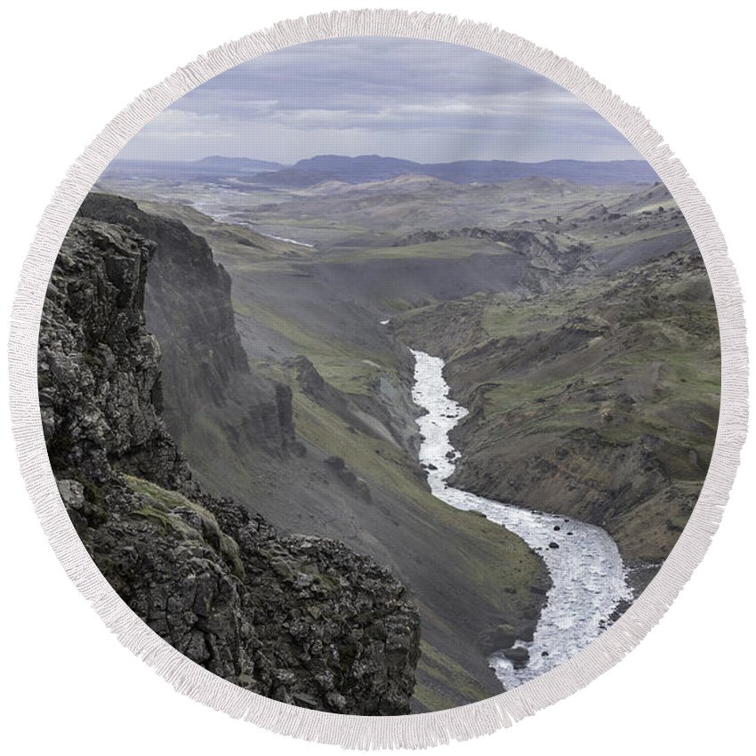 Iceland Round Beach Towel featuring the photograph Haifoss Waterfall Iceland 1370 by Bob Neiman