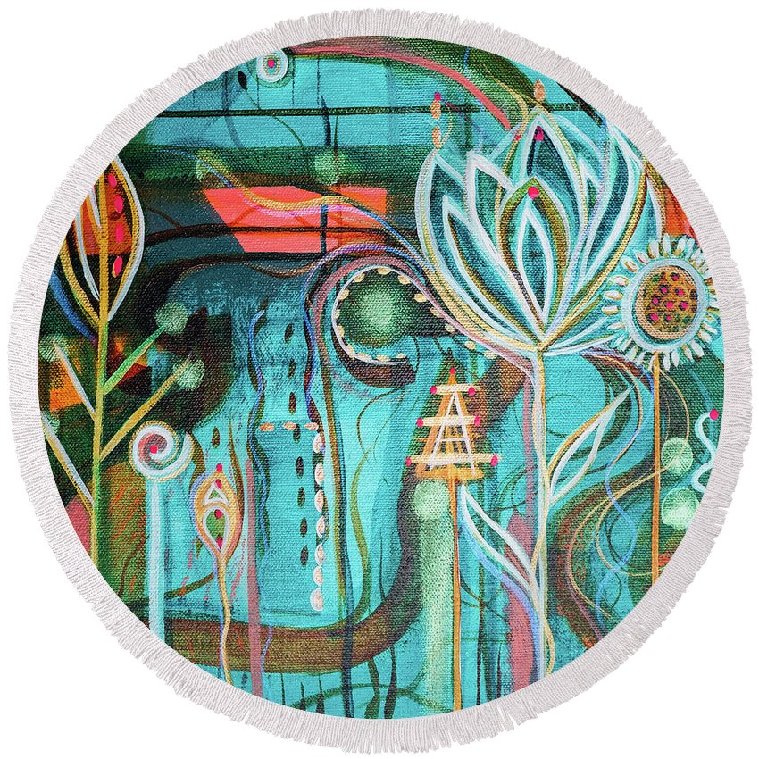 Intuitive Art Round Beach Towel featuring the painting Happy by Angel Fritz