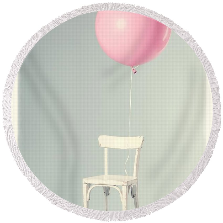 Balloon Round Beach Towel featuring the photograph Happy Birthday Card by Edward Fielding