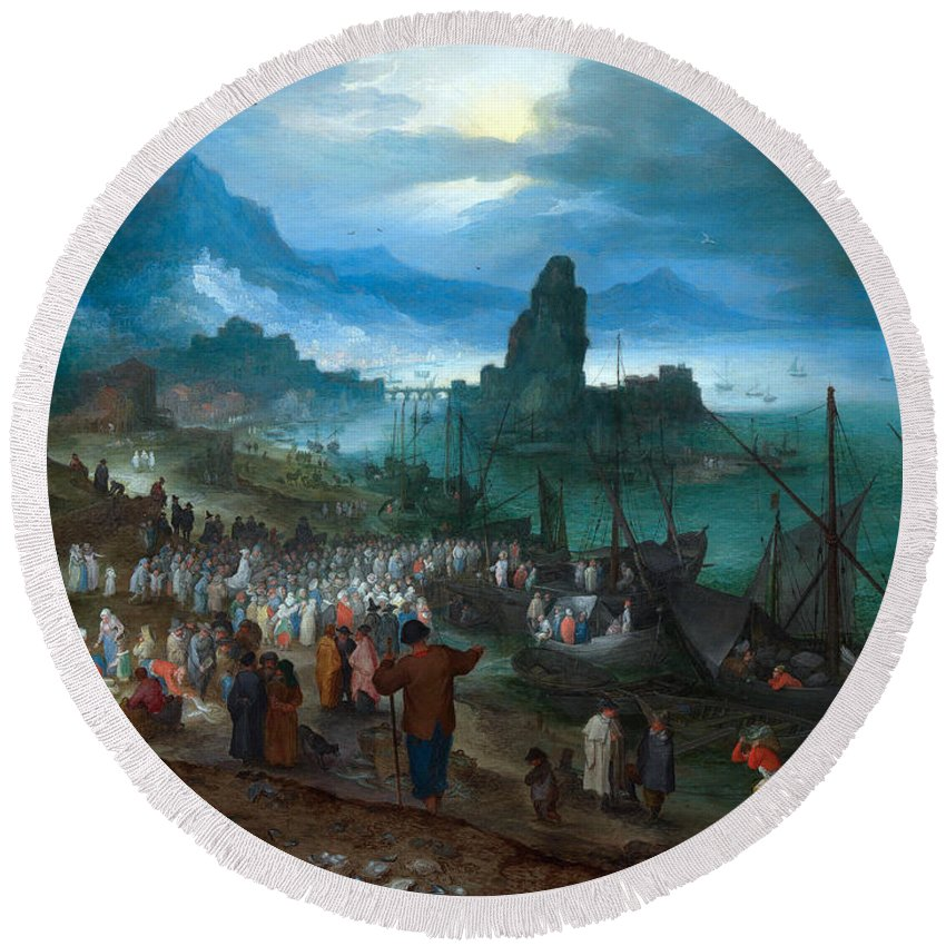 Baroque Round Beach Towel featuring the painting Harbour Scene With Christ Preaching by Jan Brueghel the Elder