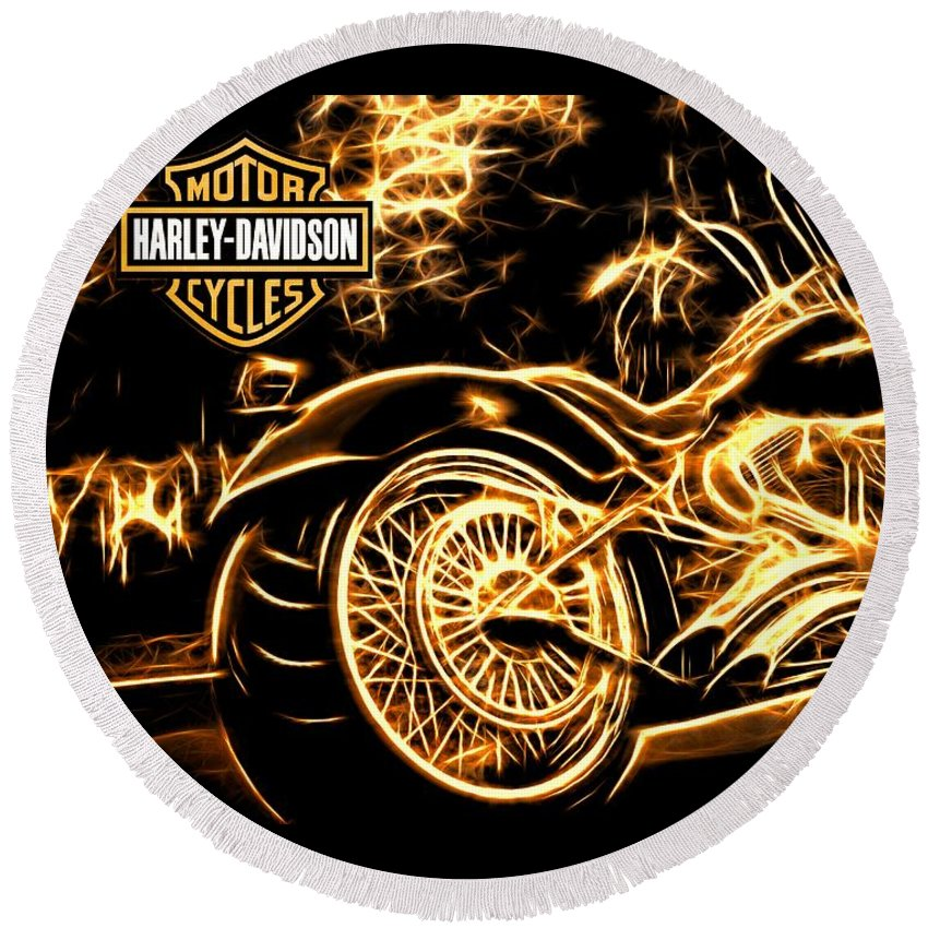 Harley-davidson Round Beach Towel featuring the photograph Harley-davidson by Aaron Berg