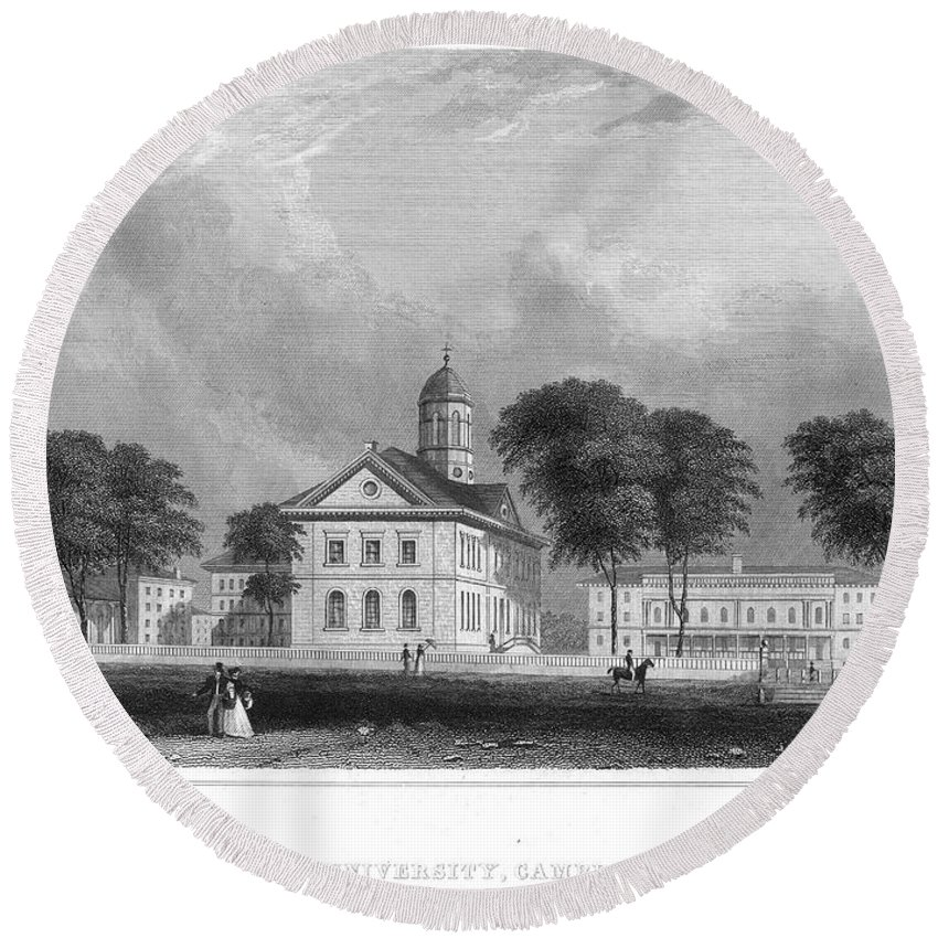 1850 Round Beach Towel featuring the photograph Harvard University by Granger