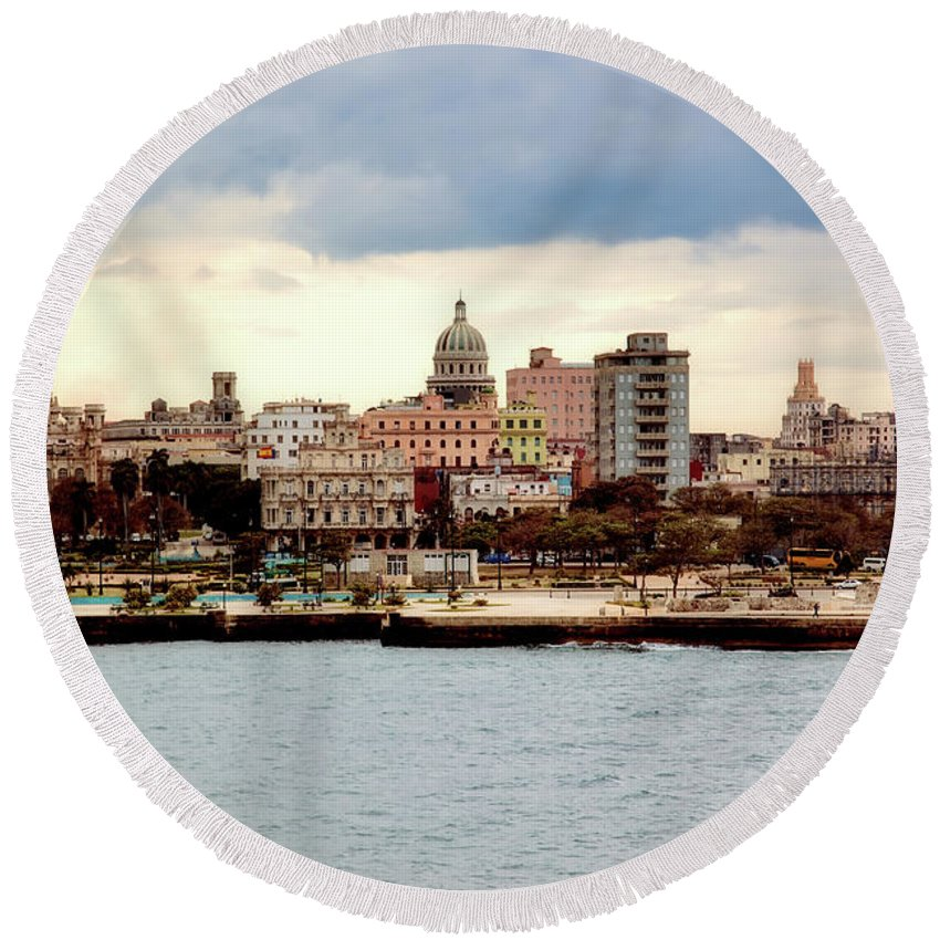 Havana Round Beach Towel featuring the photograph Havana Cuba by Mountain Dreams