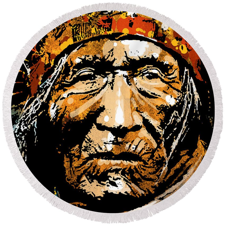 Native American Round Beach Towel featuring the painting He Dog by Paul Sachtleben