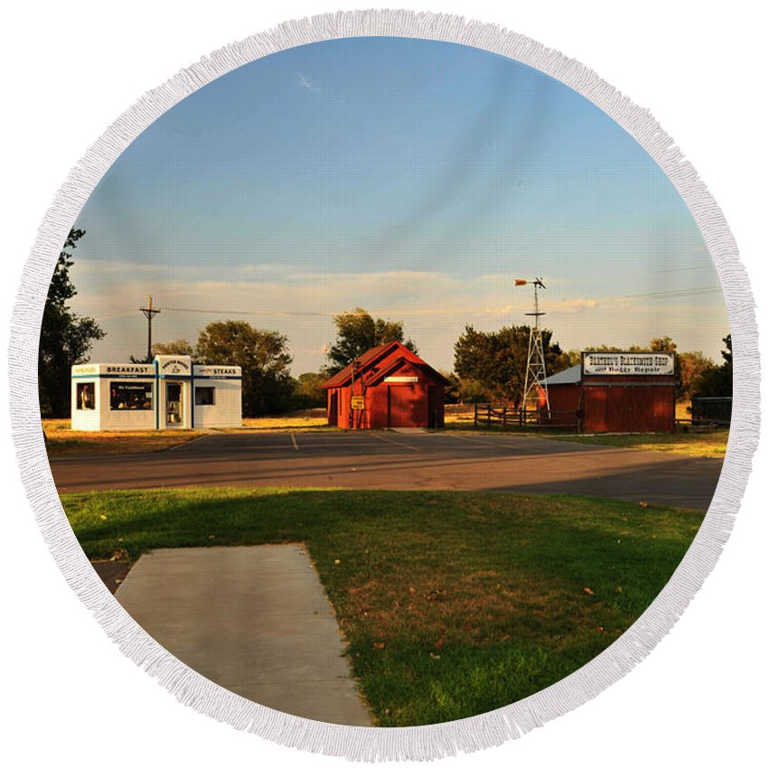 Around Weatherford Round Beach Towel featuring the photograph Heartland Heritage Museum.2 by Keith Birmingham
