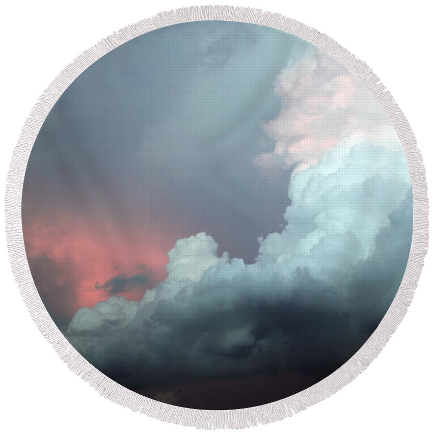 Clouds Round Beach Towel featuring the photograph Hello by Amanda Barcon