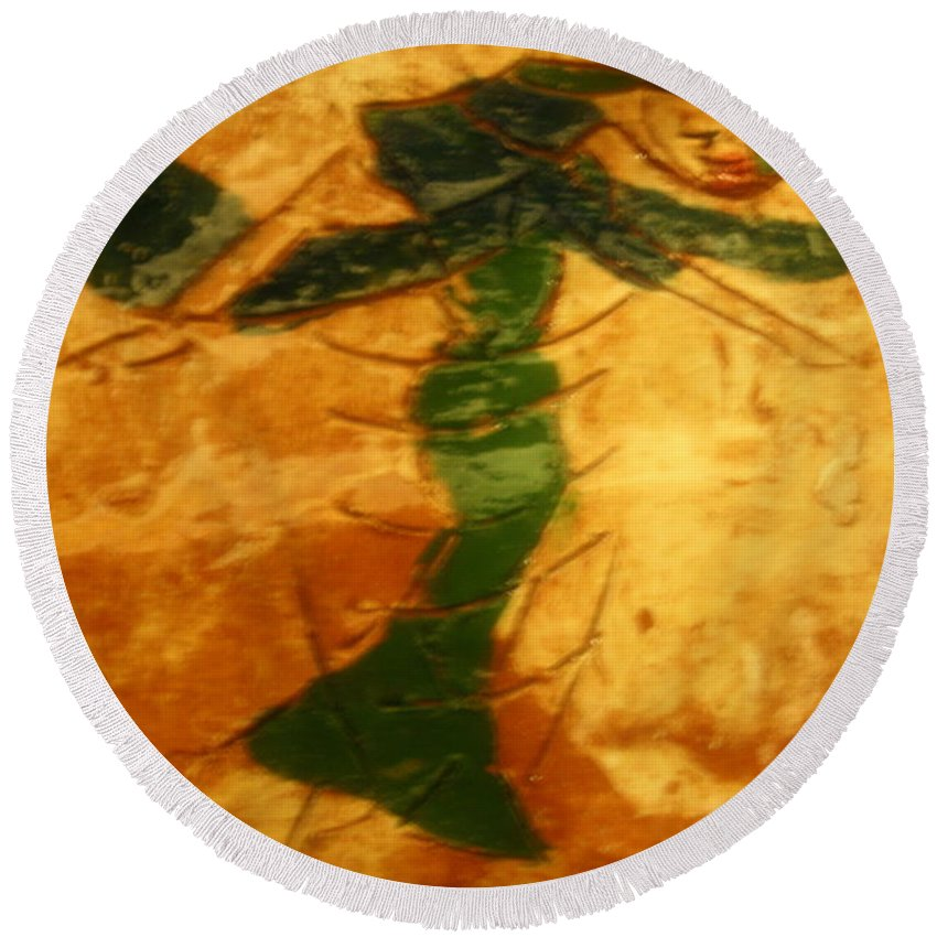 Jesus Round Beach Towel featuring the ceramic art Hello Dolly - Tile by Gloria Ssali