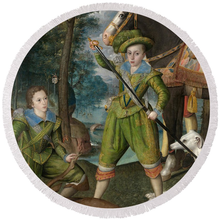 Robert Peake The Elder Round Beach Towel featuring the painting Henry Frederick Prince Of Wales With Sir John Harington In The Hunting Field by Robert Peake the Elder