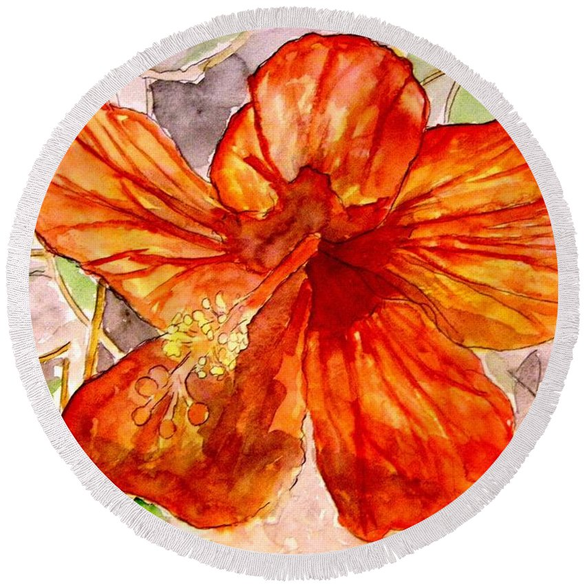 Hibiscus Round Beach Towel featuring the painting Hibiscus 2 by Derek Mccrea