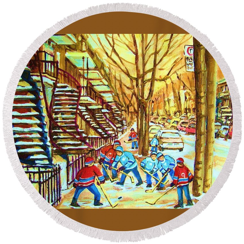 Montreal Round Beach Towel featuring the painting Hockey Game Near Winding Staircases by Carole Spandau