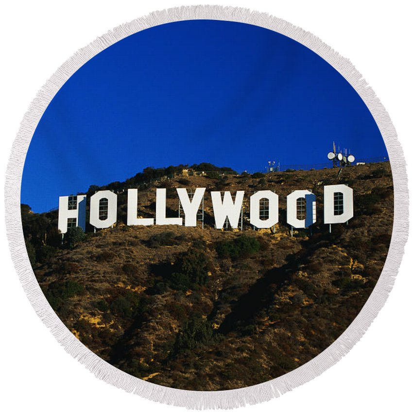 Photography Round Beach Towel featuring the photograph Hollywood Sign Los Angeles Ca by Panoramic Images