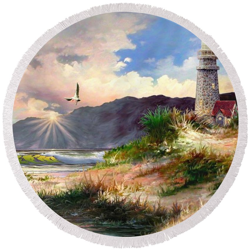 View Home For Night Breakers Seaside Lighthouse Light House Cottage Ocean Sea Sunset Penmon Last Day Ron Chambers Ronald Rkc Sunrise Beacon Harbor First Water Round Beach Towel featuring the photograph Home For The Night 3 by Ron Chambers