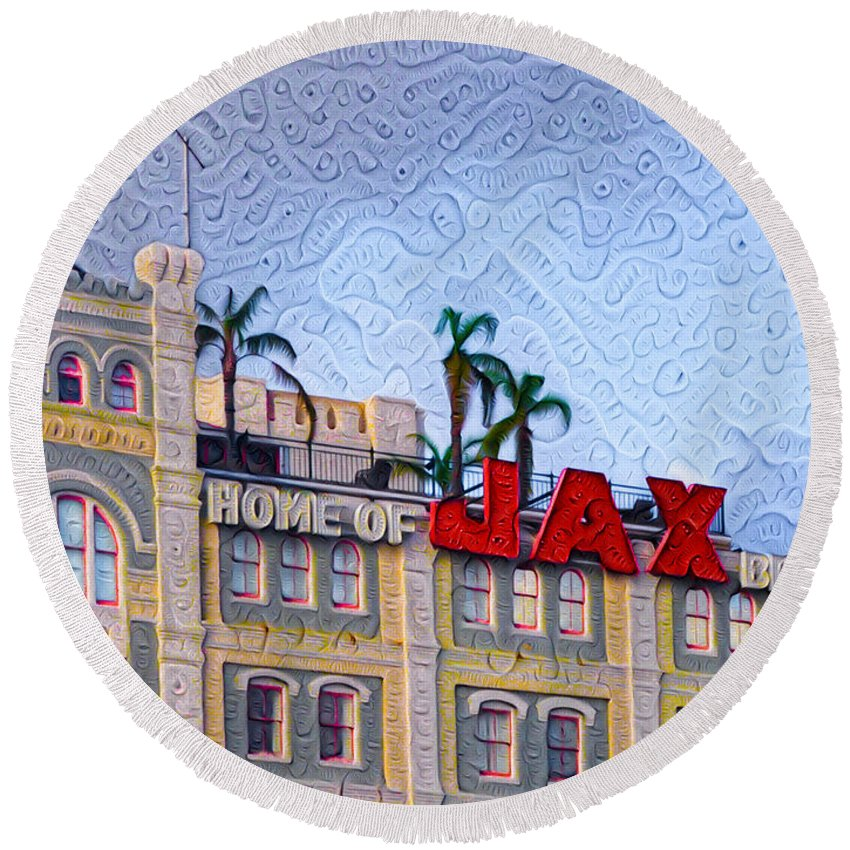 New Round Beach Towel featuring the painting Home Of Jax Beer by Bill Cannon