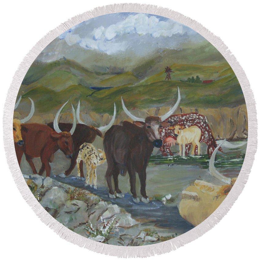 Home On The Range Round Beach Towel featuring the painting Home On The Range by Gail Daley