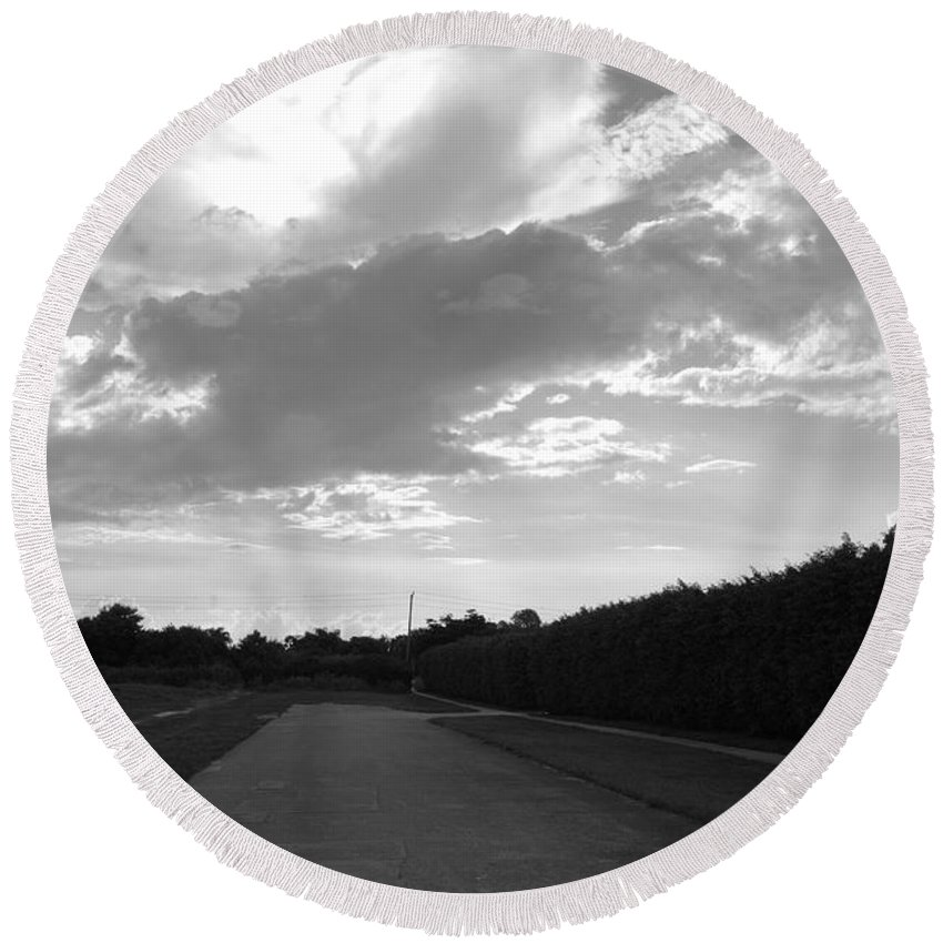 Black And White Round Beach Towel featuring the photograph Homestead Sky by Rob Hans