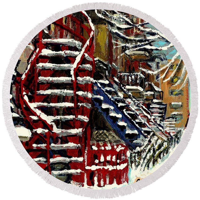 Original Montreal Paintings For Sale Round Beach Towel featuring the painting Escaliers De Montreal Ville De Verdun Best Original Montreal Paintings On Sale Peintures by Carole Spandau