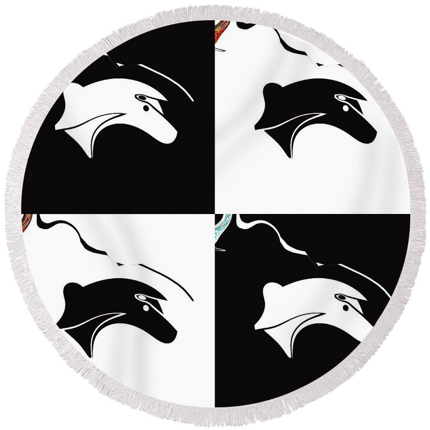 Abstract Round Beach Towel featuring the digital art Fable by Elisabeth Skajem Atter