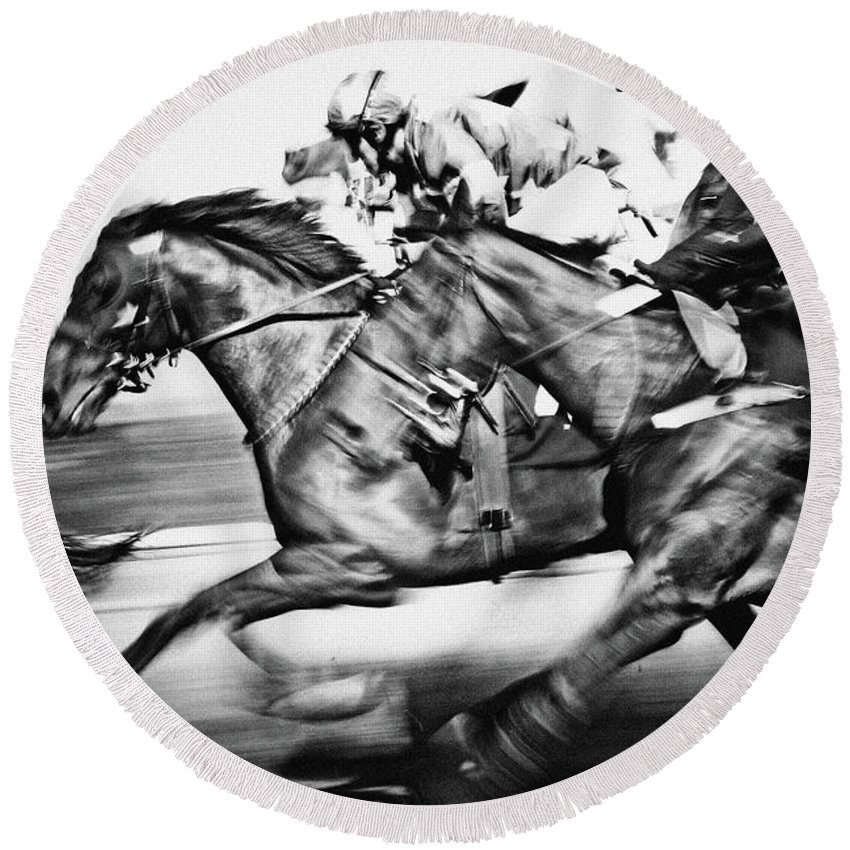 Horse Round Beach Towel featuring the photograph Horse Racing by Dimitar Hristov