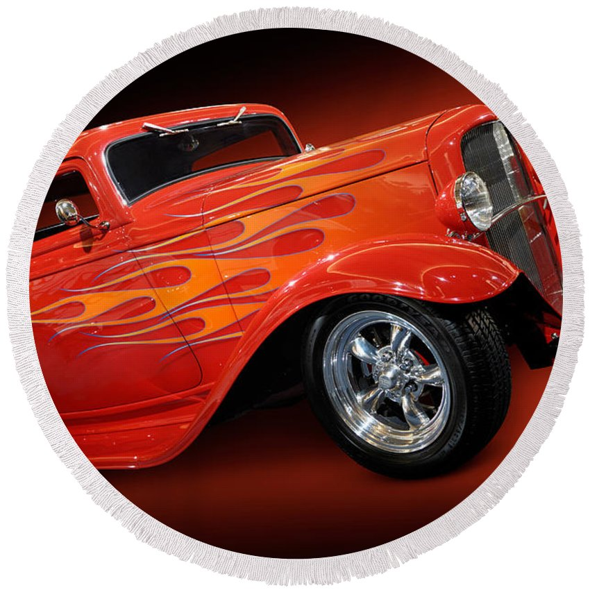 Hot Rod Round Beach Towel featuring the photograph Hot Rod Ford Coupe 1932 by Maxim Images Prints