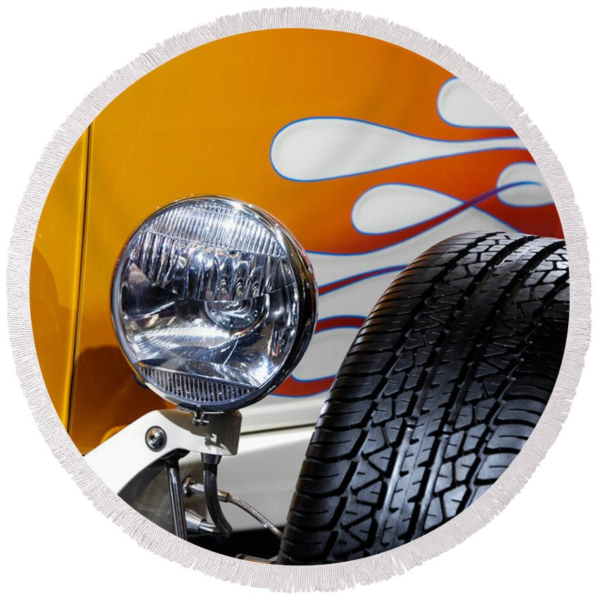 Hot Rod Round Beach Towel featuring the photograph Hot Rod Ford Hi-boy Coupe 1932 by Maxim Images Prints