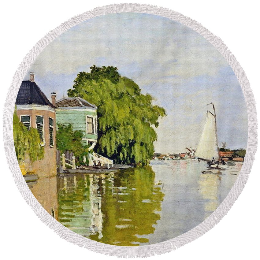 Claude Monet Round Beach Towel featuring the painting Houses On The Achterzaan by Claude Monet