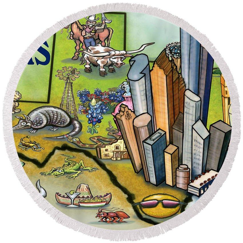 Houston Round Beach Towel featuring the digital art Houston Texas Cartoon Map by Kevin Middleton