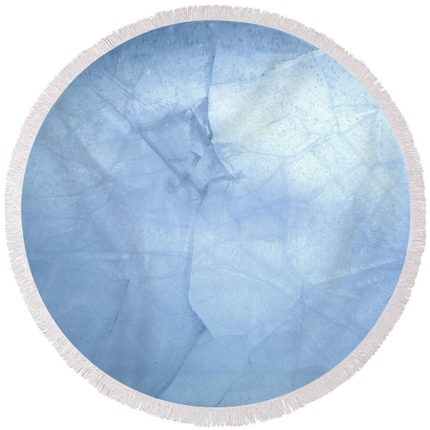 Ice Background Round Beach Towel featuring the photograph Ice Cracks by Les Cunliffe