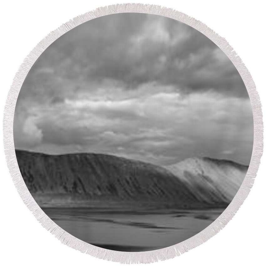 Iceland Mountains Round Beach Towel featuring the photograph Iceland Mountains Panorama by Michael Ver Sprill