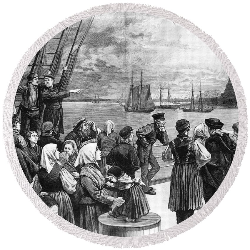 1887 Round Beach Towel featuring the photograph Immigrants On Ship, 1887 by Granger