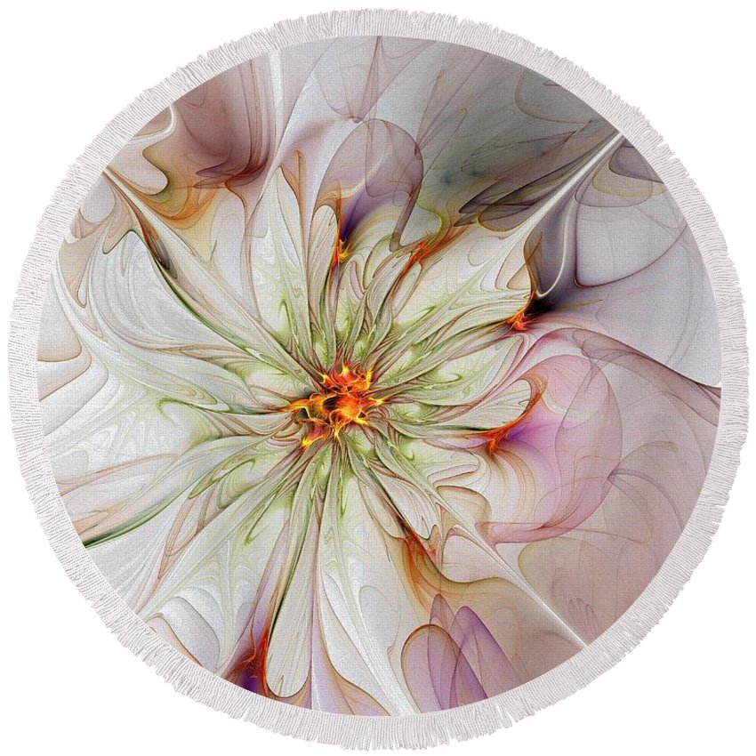 Digital Art Round Beach Towel featuring the digital art In Full Bloom by Amanda Moore