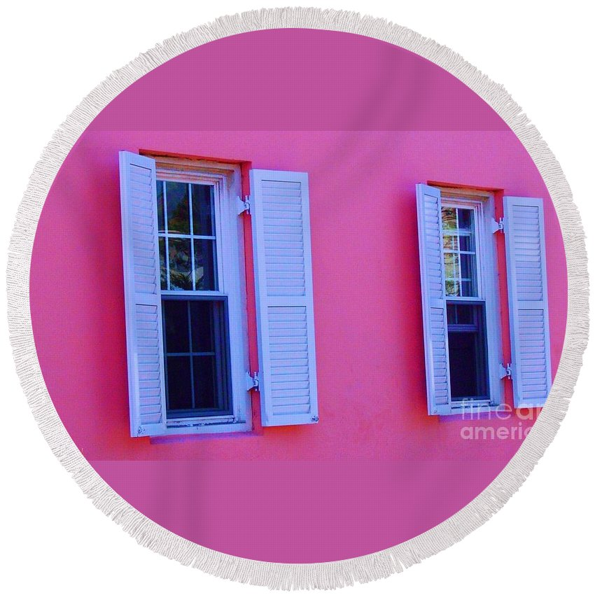 Shutters Round Beach Towel featuring the photograph In The Pink by Debbi Granruth