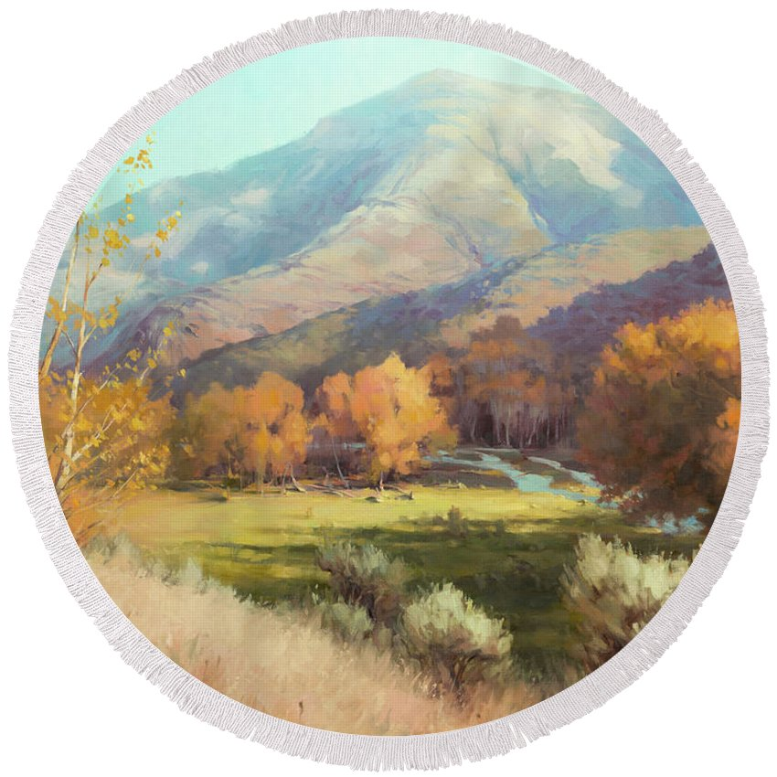 Indian Summer Round Beach Towel featuring the painting Indian Summer by Steve Henderson